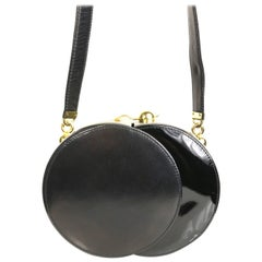 Franco Bellini Black Lambskin/Patent Leather Round Shoulder Bag