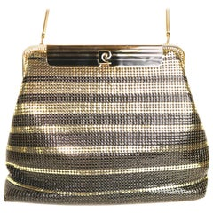 Pierre Cardin Black and Gold Plated Stripe Sequins Shoulder Bag/Clutch