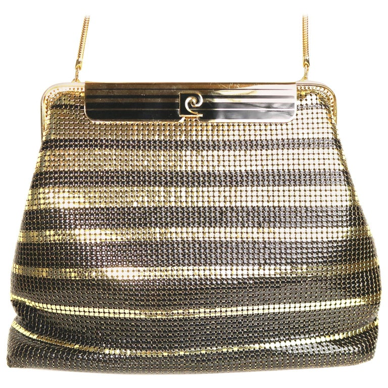 Vintage Pierre Cardin Black and Gold Plated Stripe Sequins Shoulder Bag/Clutch  For Sale