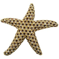Ciner Swarovski crystal Star Fish Brooch New, Never Worn 1980s