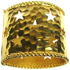 1990s Celine Wide Cuff Bracelet Be a Star New, Never Worn