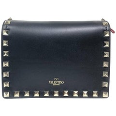 "Valentino Rockstud Evening Black Cross Body Bag (Size - 6.5""L x 5""H x 2.5""W)"