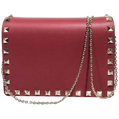 "Valentino Rockstud Evening Red Cross Body Bag (Size - 6.5""L x 5""H x 2.5""W)"