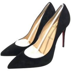 Christian Louboutin Pigalle Follies 100 Suede-Leather Black Pumps (Size - 9.5)