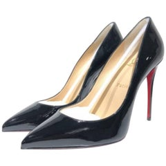 Christian Louboutin Pigalle Follies 100 Patent-Leather Black Pumps (Size - 9.5)