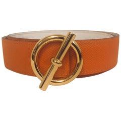 Hermès Glenan GHW Reversible Belt Kit Orange Epsom and White Swift