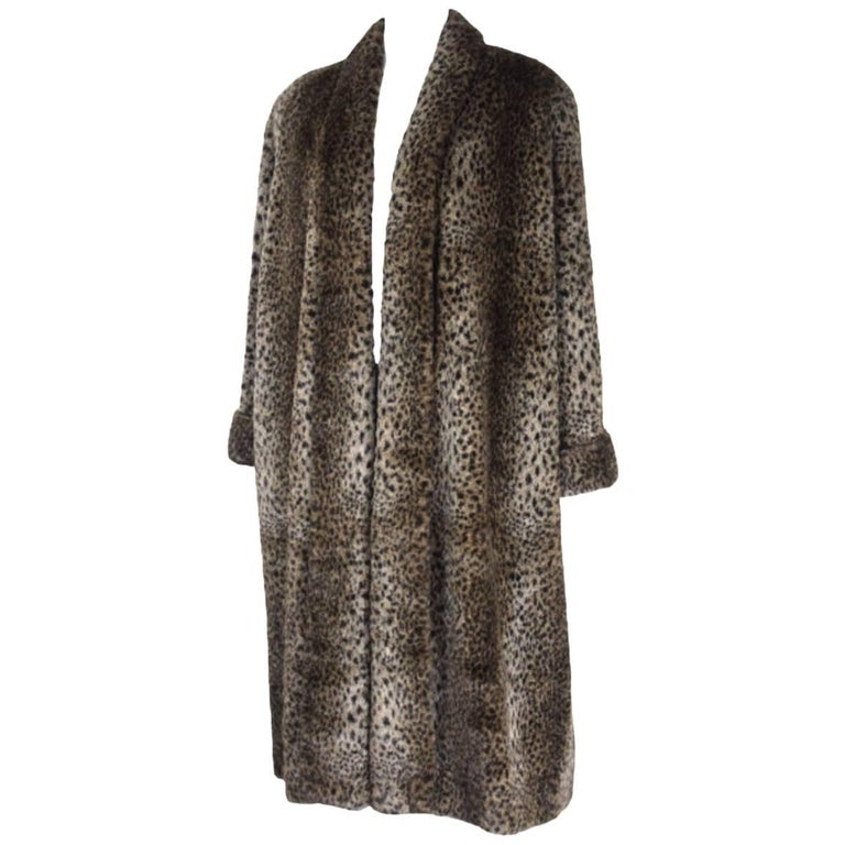 Comme des Gracons 1990s Faux Fur Animal Print Coat For Sale