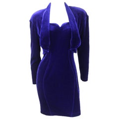 Thierry Mugler Velvet Two Piece Cocktail Dress and Cropped Jacket