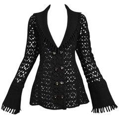 Alaia Black Boiled Wool Laser Cut Blanket Jacket with Fringe 1990s