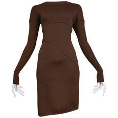 Vintage Azzedine Alaia Burgundy Brown Asymmetrical Knit Dress 1990's