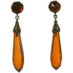 Art Deco Amber Drop Earrings