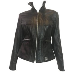 1990s Versace Black Lizard Embossed Leather Jacket