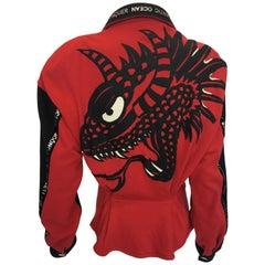 1990s Kansai Yamamoto Red & Black Cotton Moto Style Zip Jacket