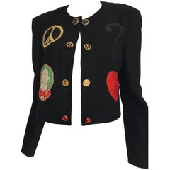 1990s Moschino Pre a Porter Black Cropped Wool Jacket