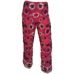 1980s Cache Fuschia Floral Beaded Silk Cropped Lounge Pants