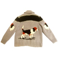 1940s Mens Dog Theme Wool knit Zippered  Sweater