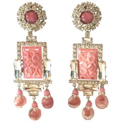 VRBA Pink Opaline Glass Diamante and Venetian Bead Massive Drop Earrings