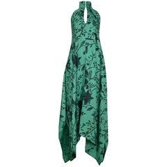 Stunning Early & Rare Issey Miyake Green Floral Keyhole Tent Dress  Circa 1970s