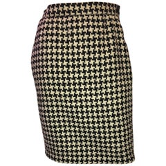 Ungaro Black and White Houndstooth Wool Skirt, 1980s