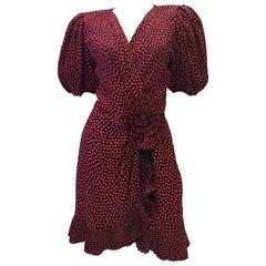 1980s Albert Nipon Black & Red Deep V Puff Sleeve Silk Dress
