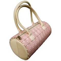 Chanel Rare Mauve Pink Lucite Tile Leather Cylinder Handbag