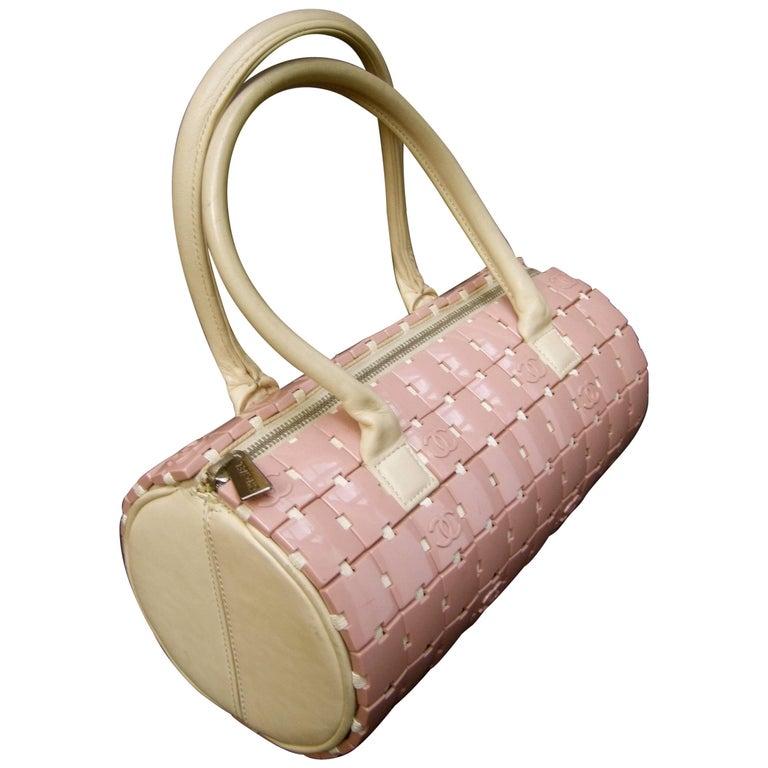 Chanel Rare Mauve Pink Lucite Tile Leather Cylinder Handbag