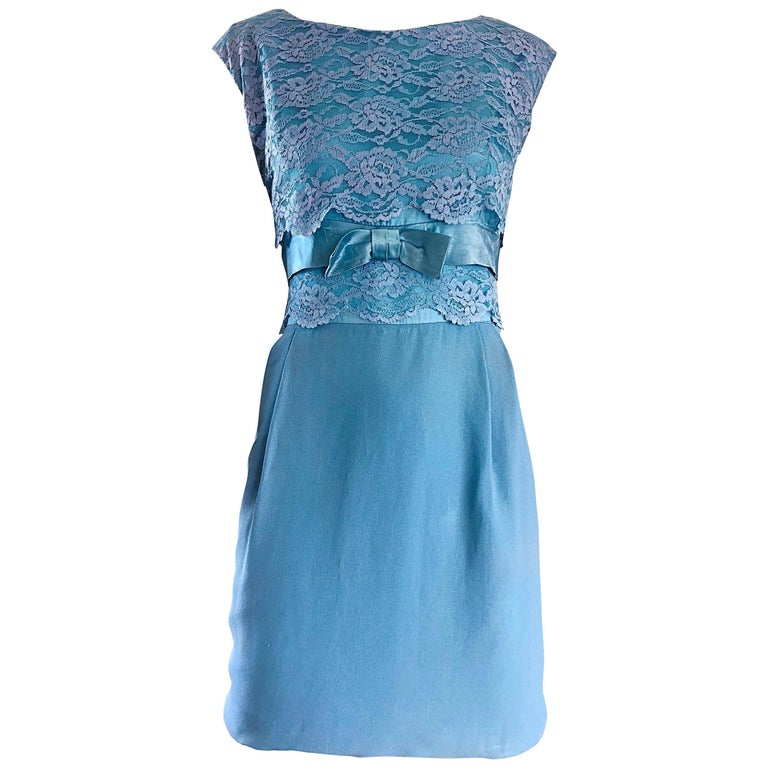 Beautiful 1960s Light Blue Silk Crepe Lace Bow Vintage 60s Shift Mini Dress