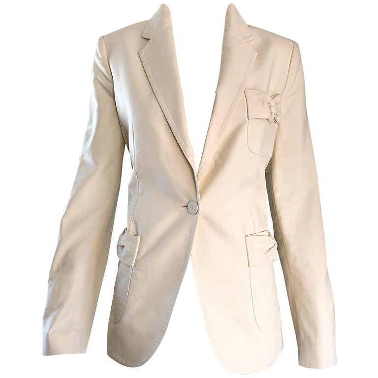 1990s Viktor & Rolf Brand New Ivory Off -White Size 44 Cotton 90s Blazer Jacket