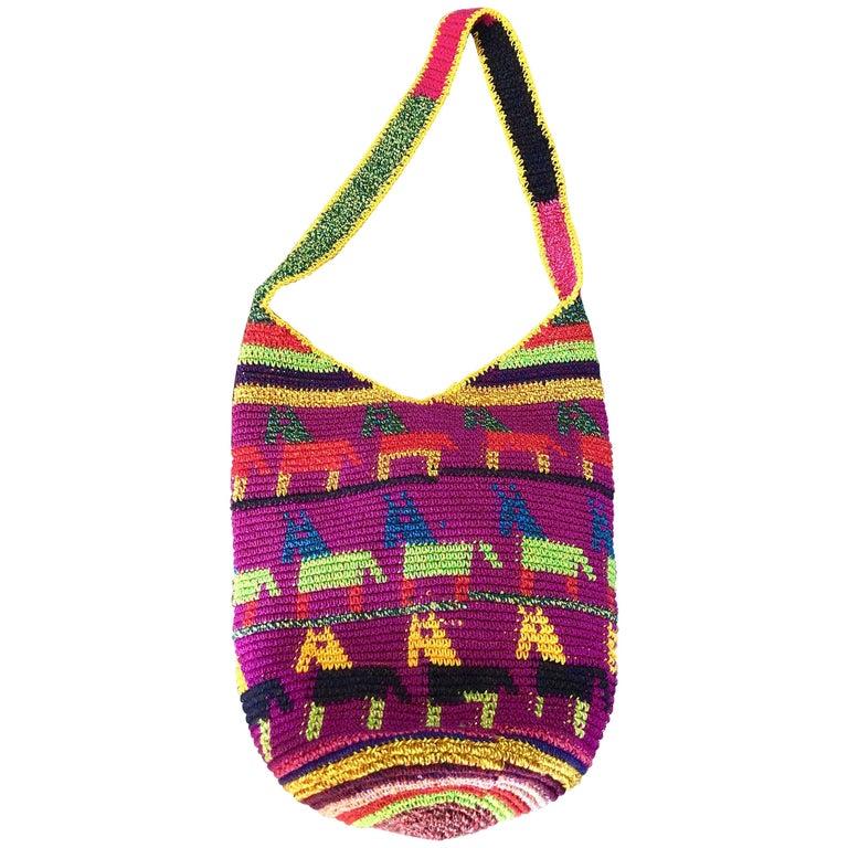 Amazing 1970s XL Hand Crochet Southwestern Colorful Boho Shoulder Crossbody Bag