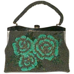 1950'S Fantastic Glass Bead & Lucite Floral Hang Bag.