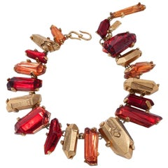 Yves Saint Laurent Gold and Red Quartz Collar Necklace