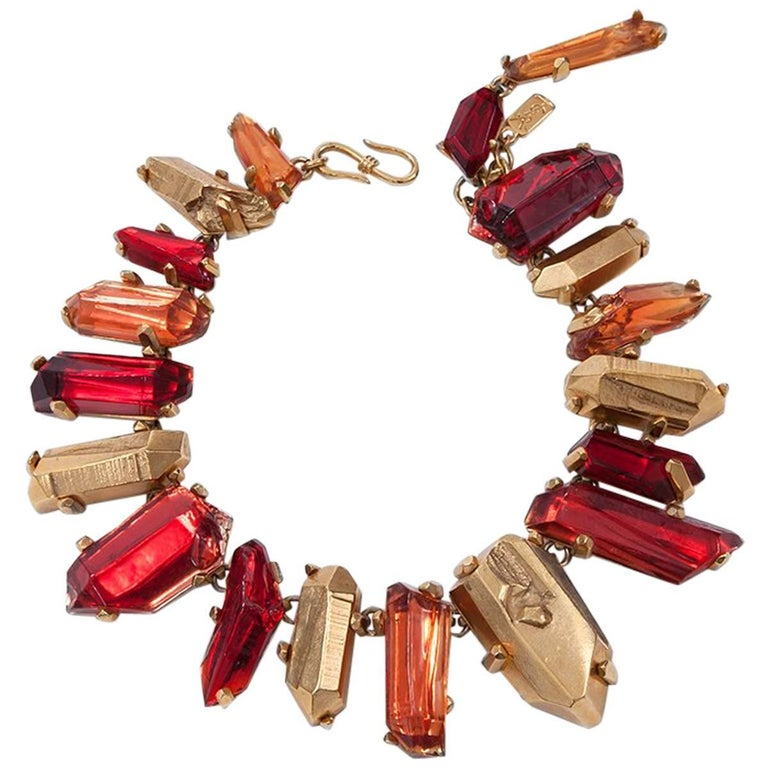 Yves Saint Laurent Gold and Red Quartz Collar Necklace For Sale