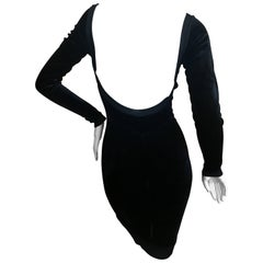 Azzedine Alaia 1980's Backless Black Velvet Dress