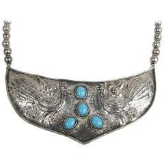 Sterling Silver Hammered Turquoise shield Necklace Hand Made 1970s
