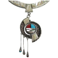 Native American Zuni Sterling Silver Sun Face Spinner Turquoise Coral Necklace