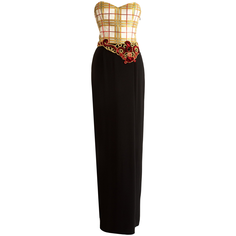 Christian Dior Autumn-Winter 1995 silk strapless evening dress