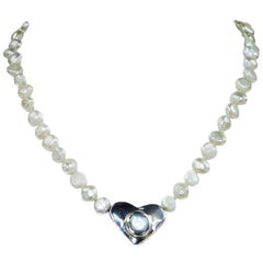 Pearl Choker Necklace with Sterling Silver Heart