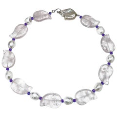 Rose Quartz and White Pearl Necklace