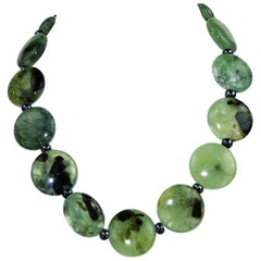 Green Brazilian Prehnite Necklace with Sterling Clasp