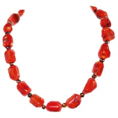 Polished Orange Coral Necklace