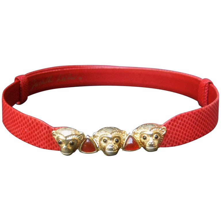 Judith Leiber Charming Monkey Buckle Red Leather Belt c 1980s For Sale