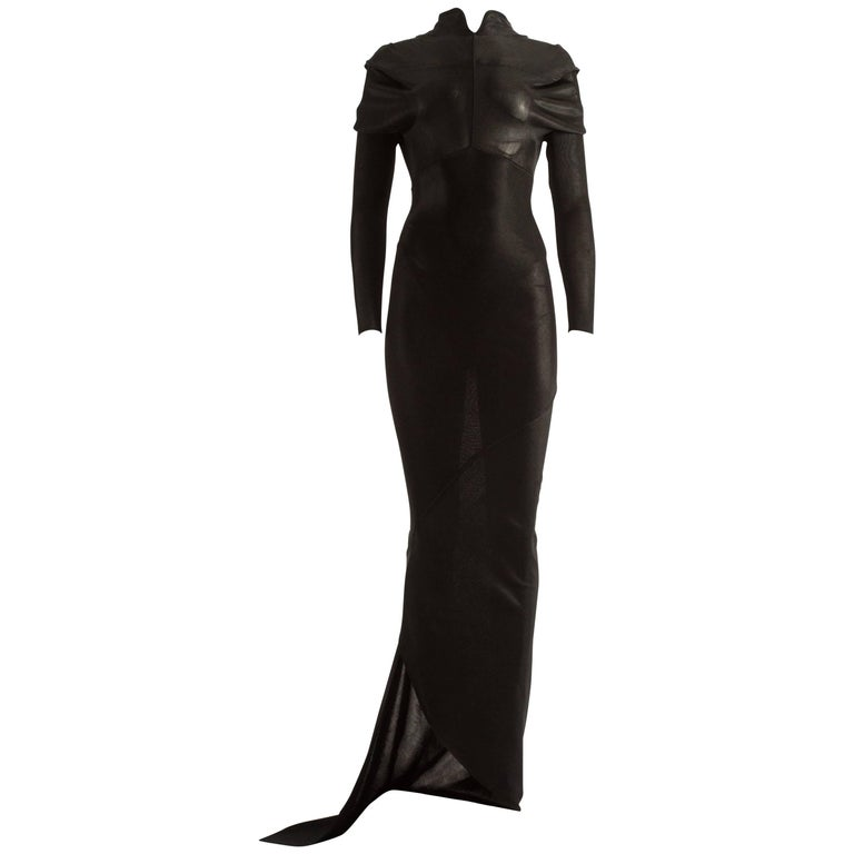Azzedine Alaia Autumn-Winter 1988 black acetate knitted bias cut evening dress