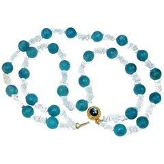 Two strands Blue Agate Balls and White Magnesite  necklace