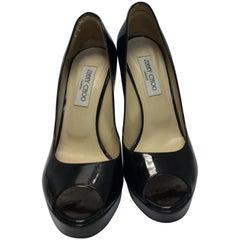 Jimmy Choo Black Patent Leather Platform Peep Toe Pumps