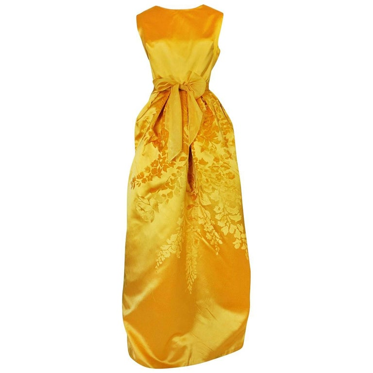 Documented 1962 Christian Dior Haute Couture Yellow Silk Dress