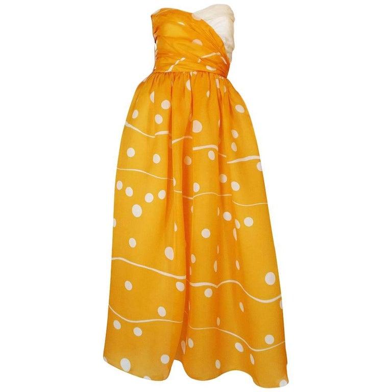 1970s Bill Blass Deep Marigold Dot Printed Silk Strapless Dress