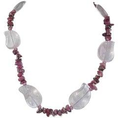 Rose Quartz and Rhodonite Necklace