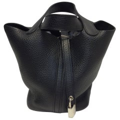 Hermes Picotin Black Leather Small Bag