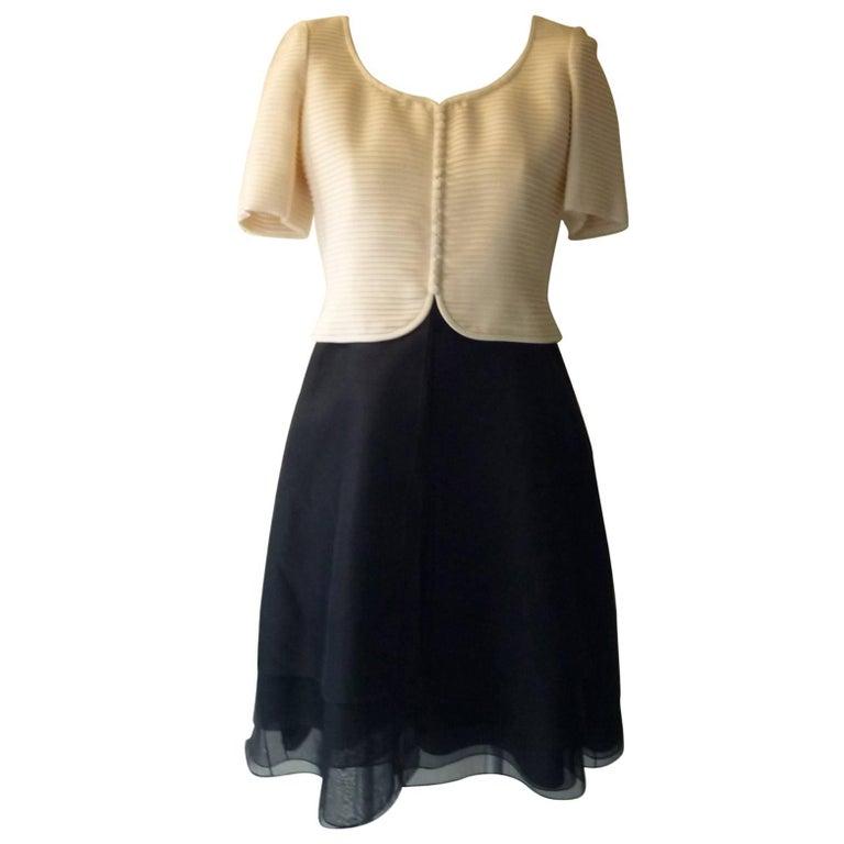 Carolina Herrera Black and Cream Silk Cocktail Dress 8US