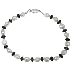 Classic Necklace of White Pearls and Smoky Quartz Rondels